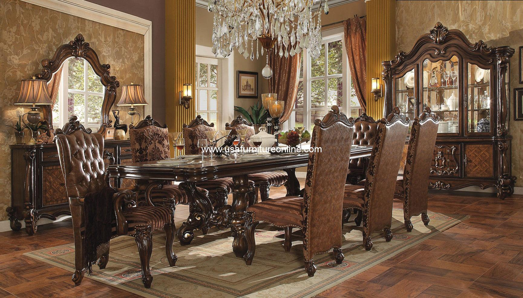 VERSAILLES DINING SET IN CHERRY OAK FINISH 9 PIECE EBay