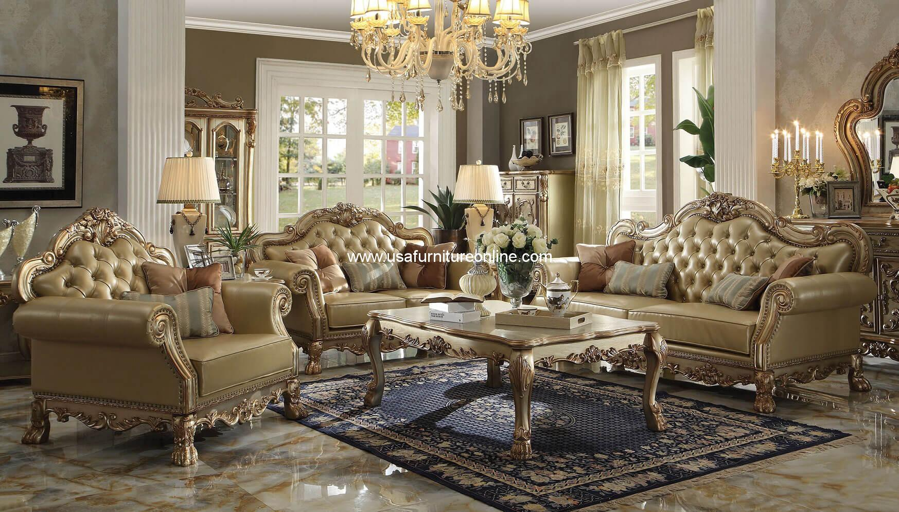 The Dresden Wood Trim Living Set With Gold Patina Finish , Introducing New  Finish Creates Whole New Different Environment For Your Living Room. Part 79
