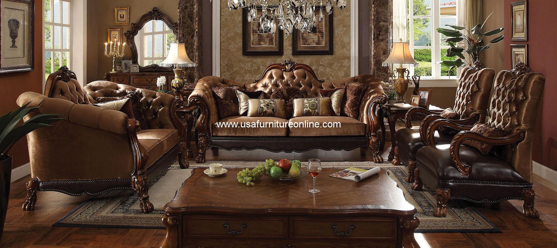 About acme 2 piece wood trim golden brown velvet living room set