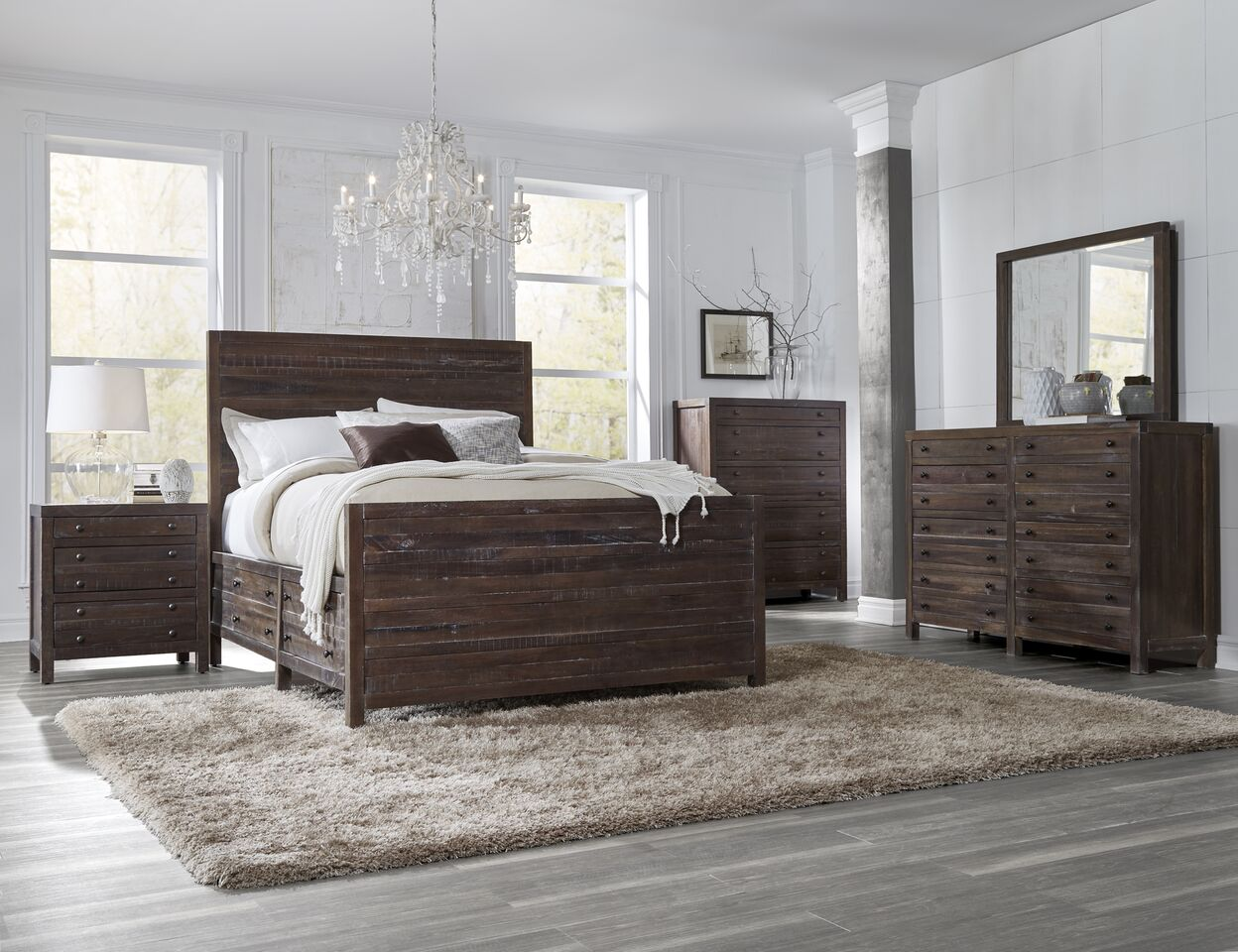 4 Piece Townsend Solid Wood Panel Storage Bedroom Set By