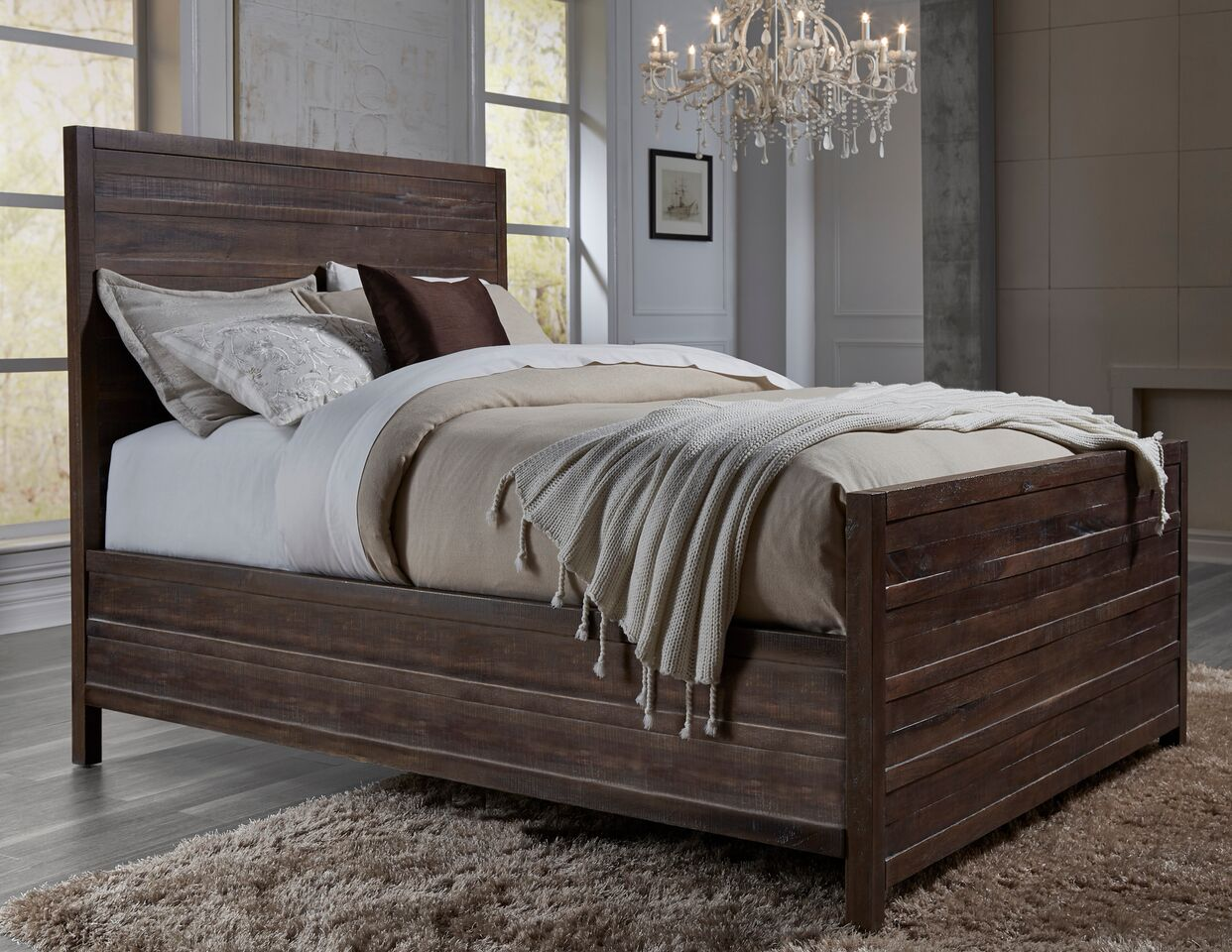 townsend solid wood panel bed by modus usa furniture online. Black Bedroom Furniture Sets. Home Design Ideas