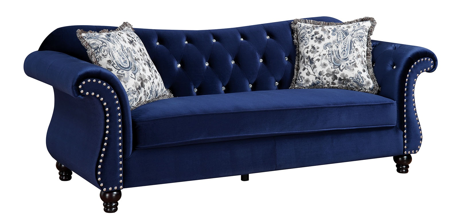Jolanda tufted blue fabric sofa Loveseats with console