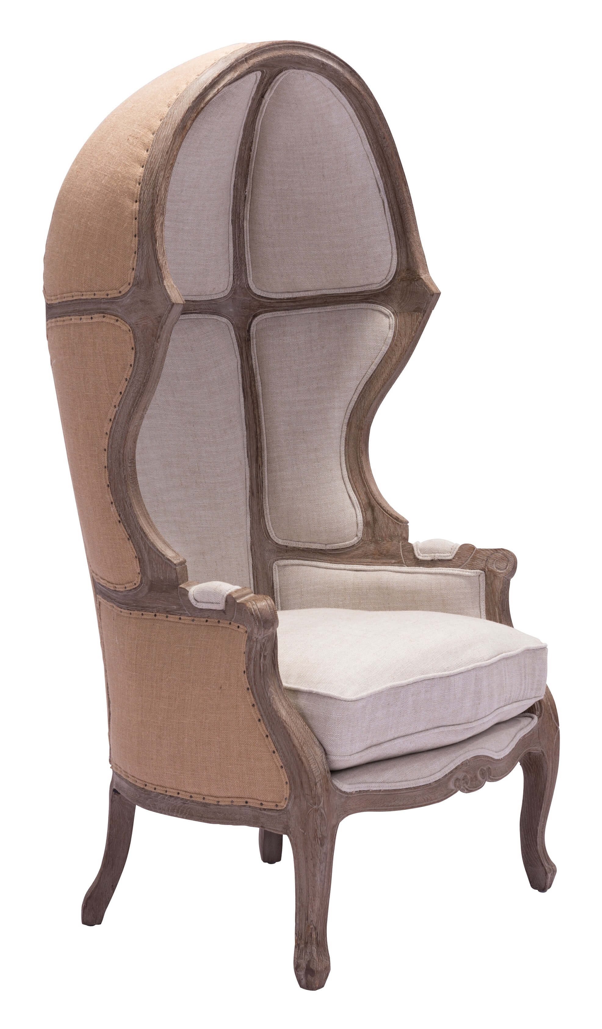 Ellis Solid Oak Wood Trim Occasional Chair Beige By Zuo