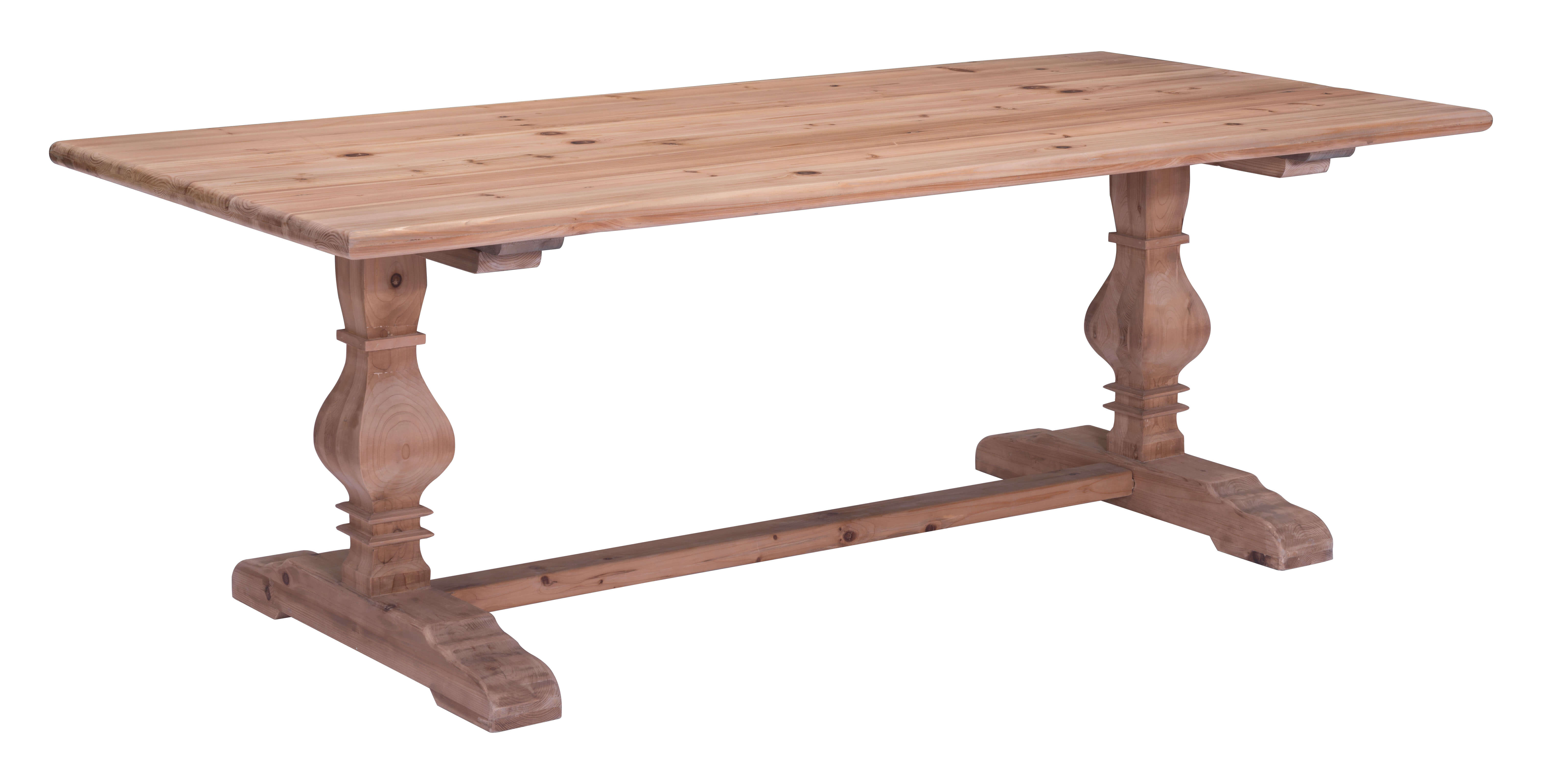 Zuo modern norfolk solid fir wood dining table natural for Solid wood dining table