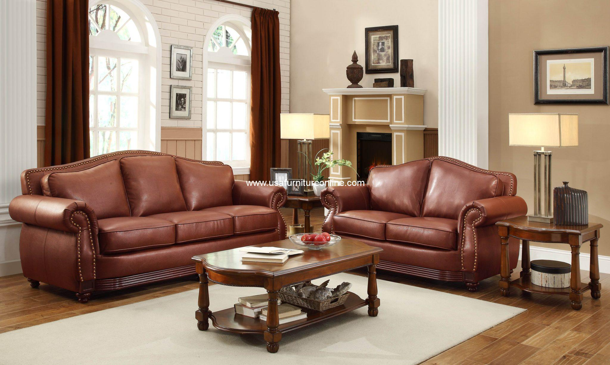 3 Piece Midwood Collection Rolled Arms Sofa Set Usa
