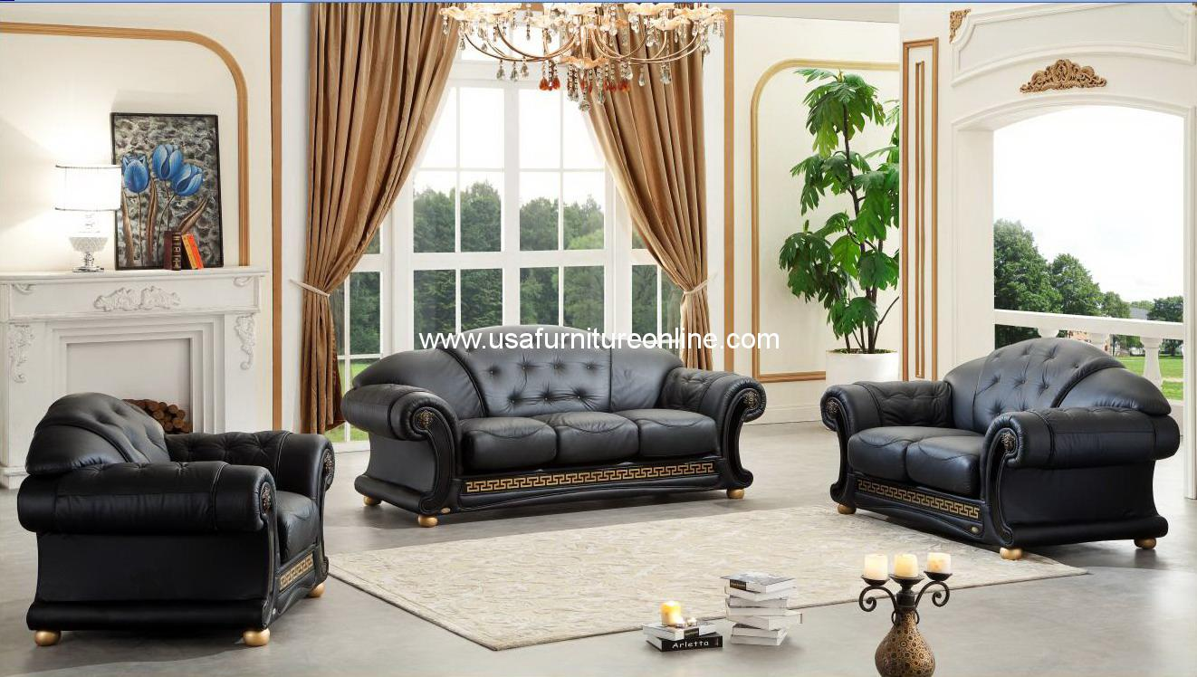 Versace Italian Leather Classic Sofa Set By Esf Usa