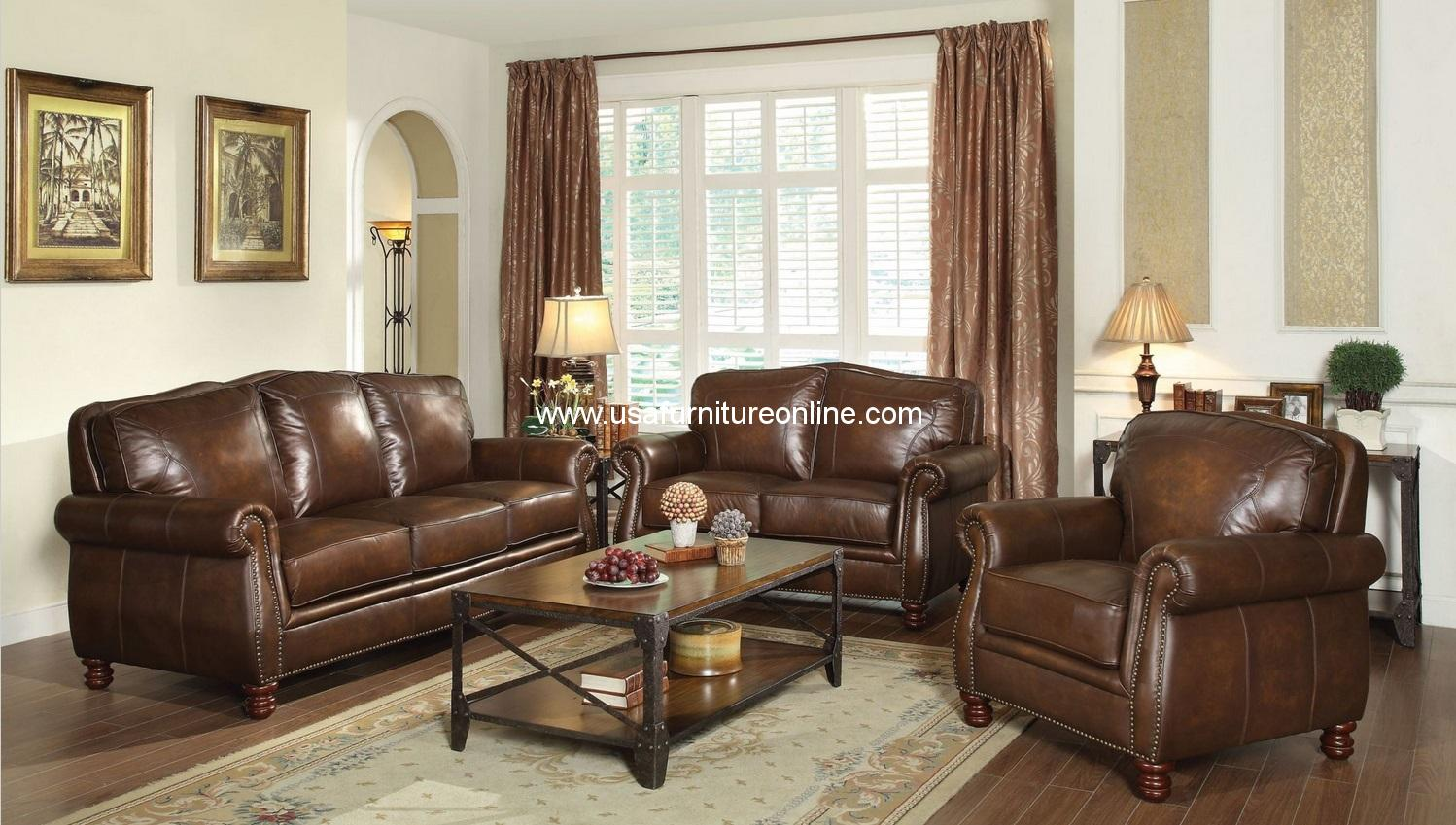 montbrook leather sofa set