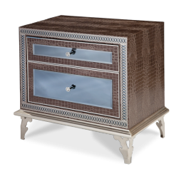 Hollywood Swank Amazing Gator Upholstered Nightstand