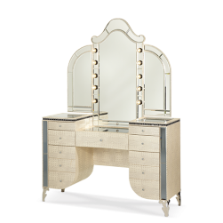 Hollywood Swank Crystal Croc Upholstered Vanity and Mirror