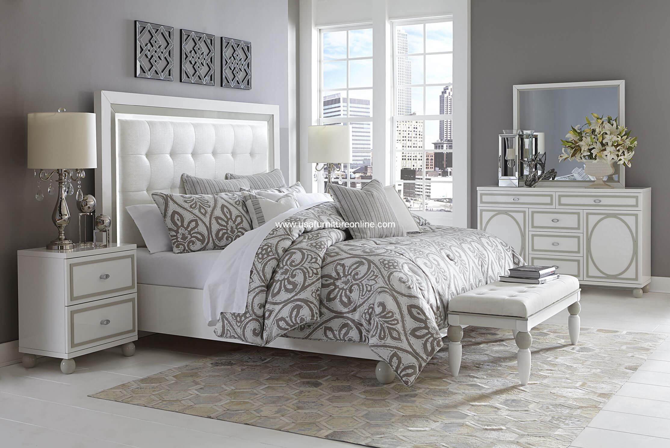 4 Piece Sky Tower Cloud White Modern Bedroom Set Usa Furniture Online