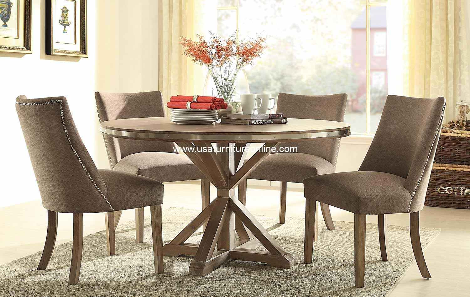 5 piece beaugrand round modern dining set usa furniture for Contemporary dining set