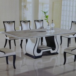 11 Piece Callisto Italian Marble Rectangular Dining Set