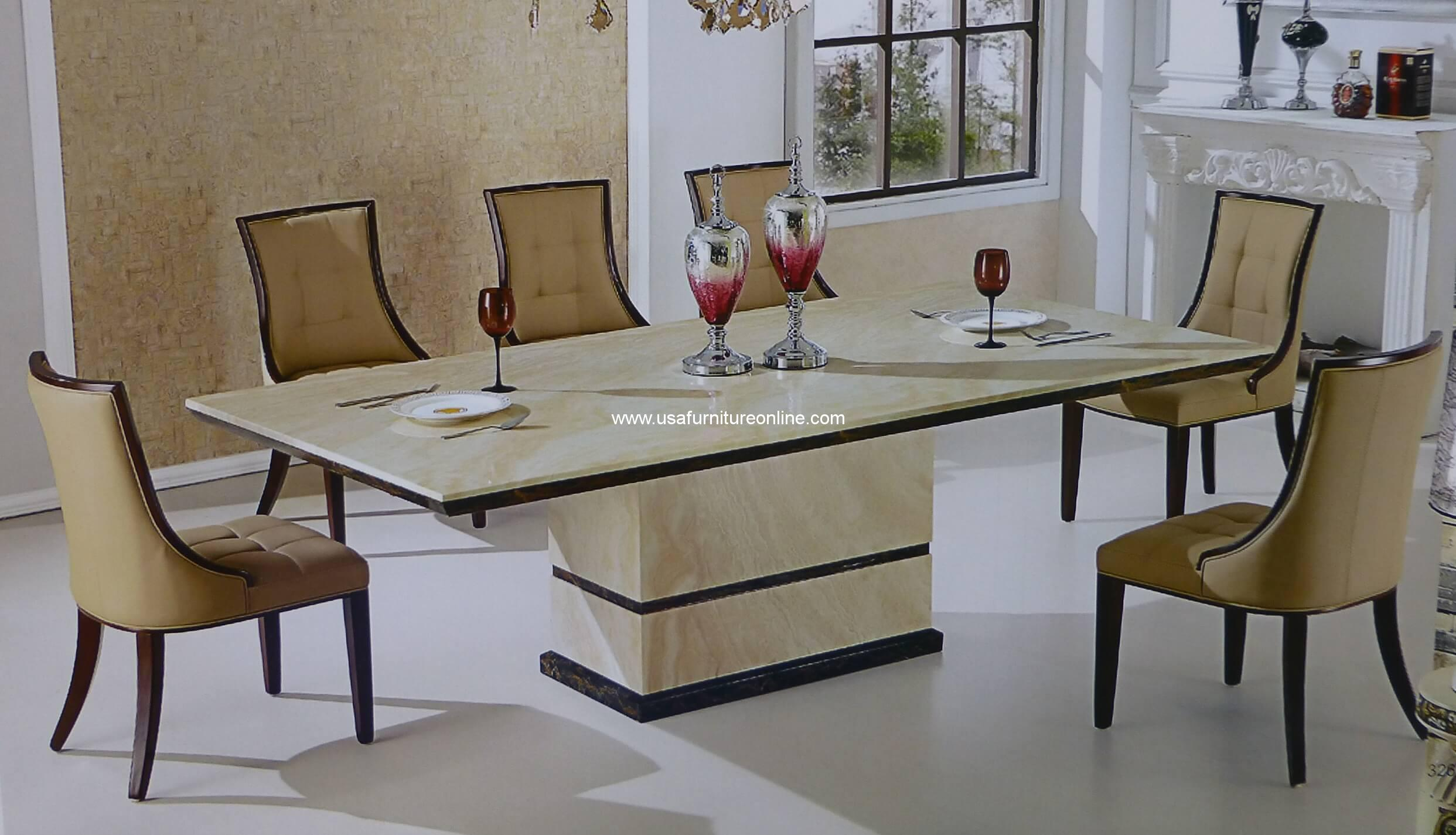 11 Piece Canberra Italian Marble Rectangular Dining Set Usa Furniture Online