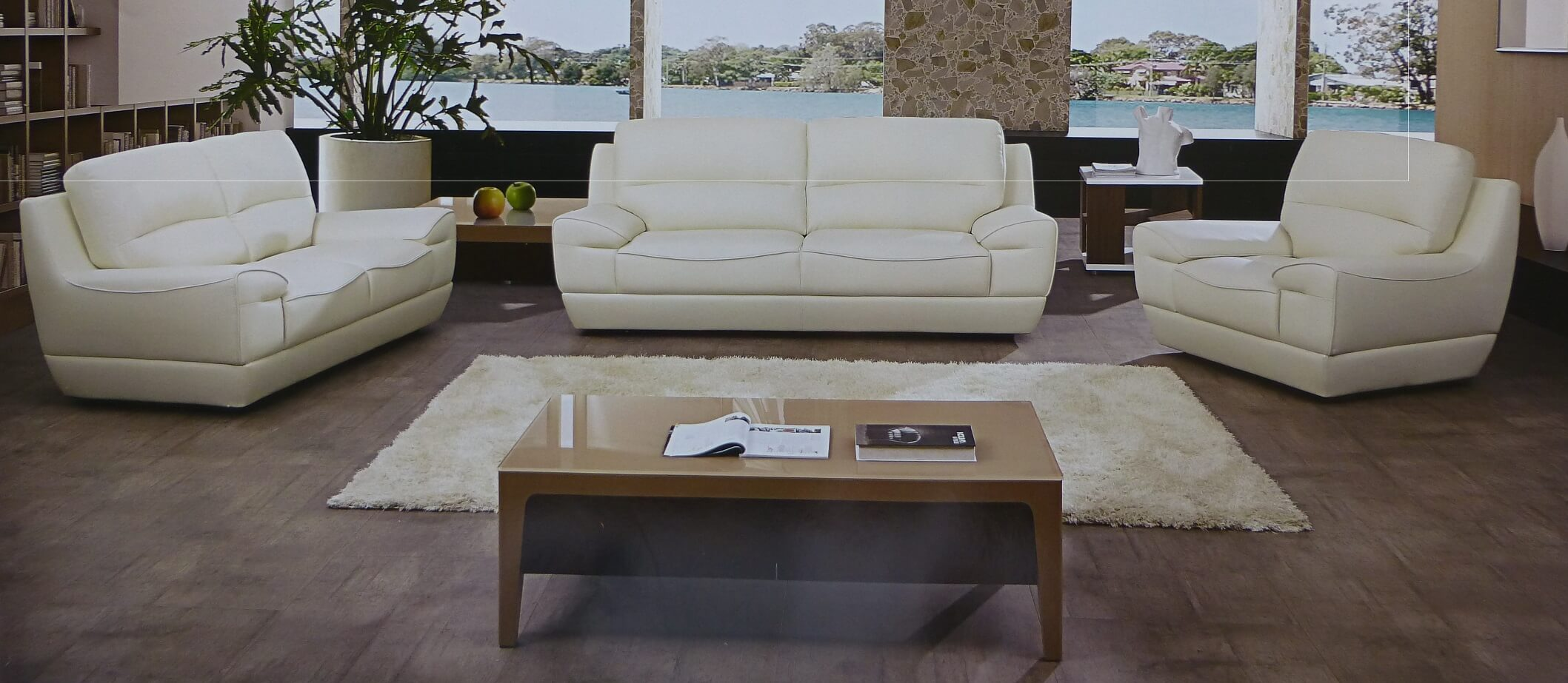 Dado Italian Off White Leather Modern Sofa Set