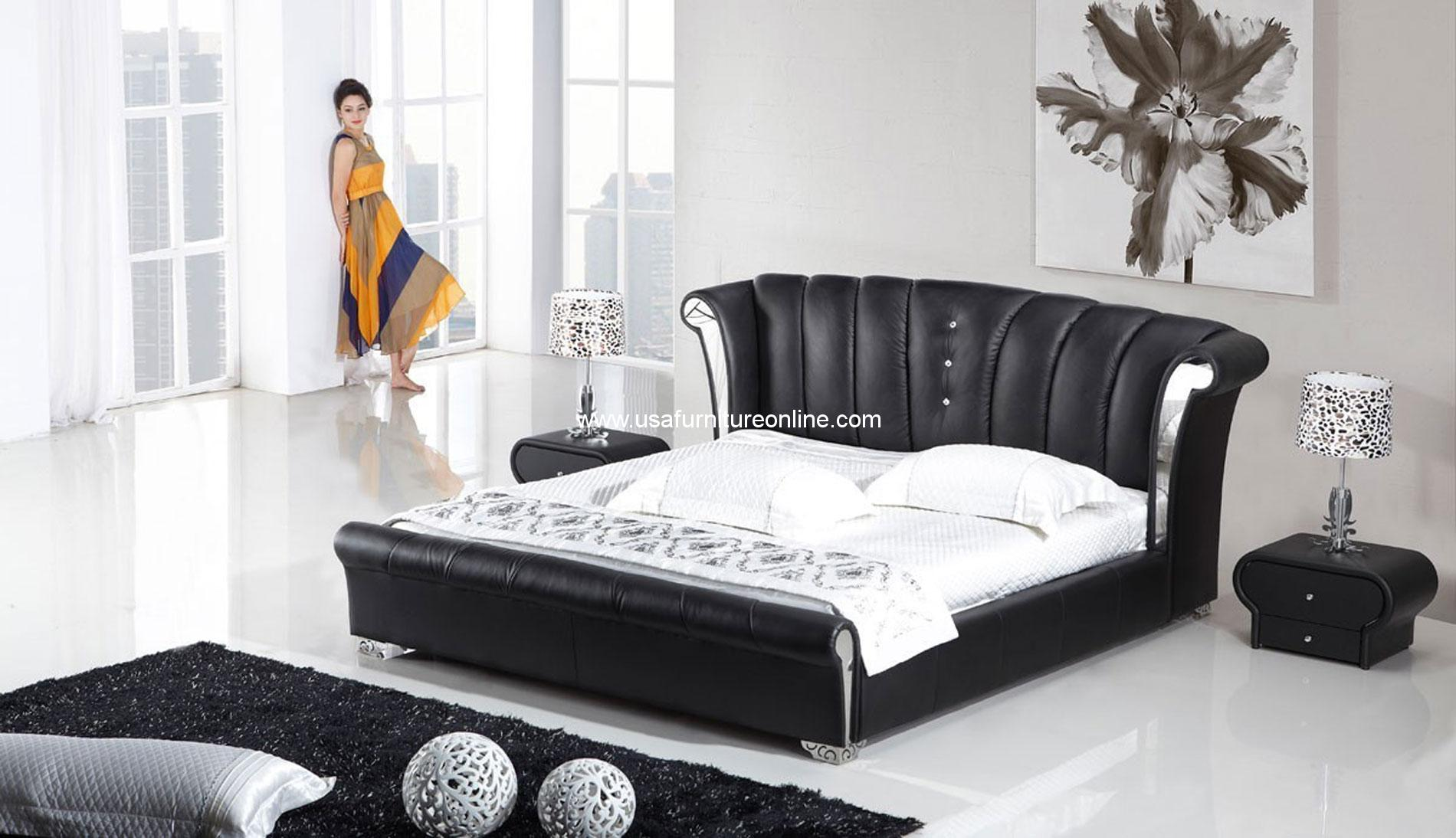 Modern 3 Piece Vela Wing Genuine Black Leather Bedroom Set Usa