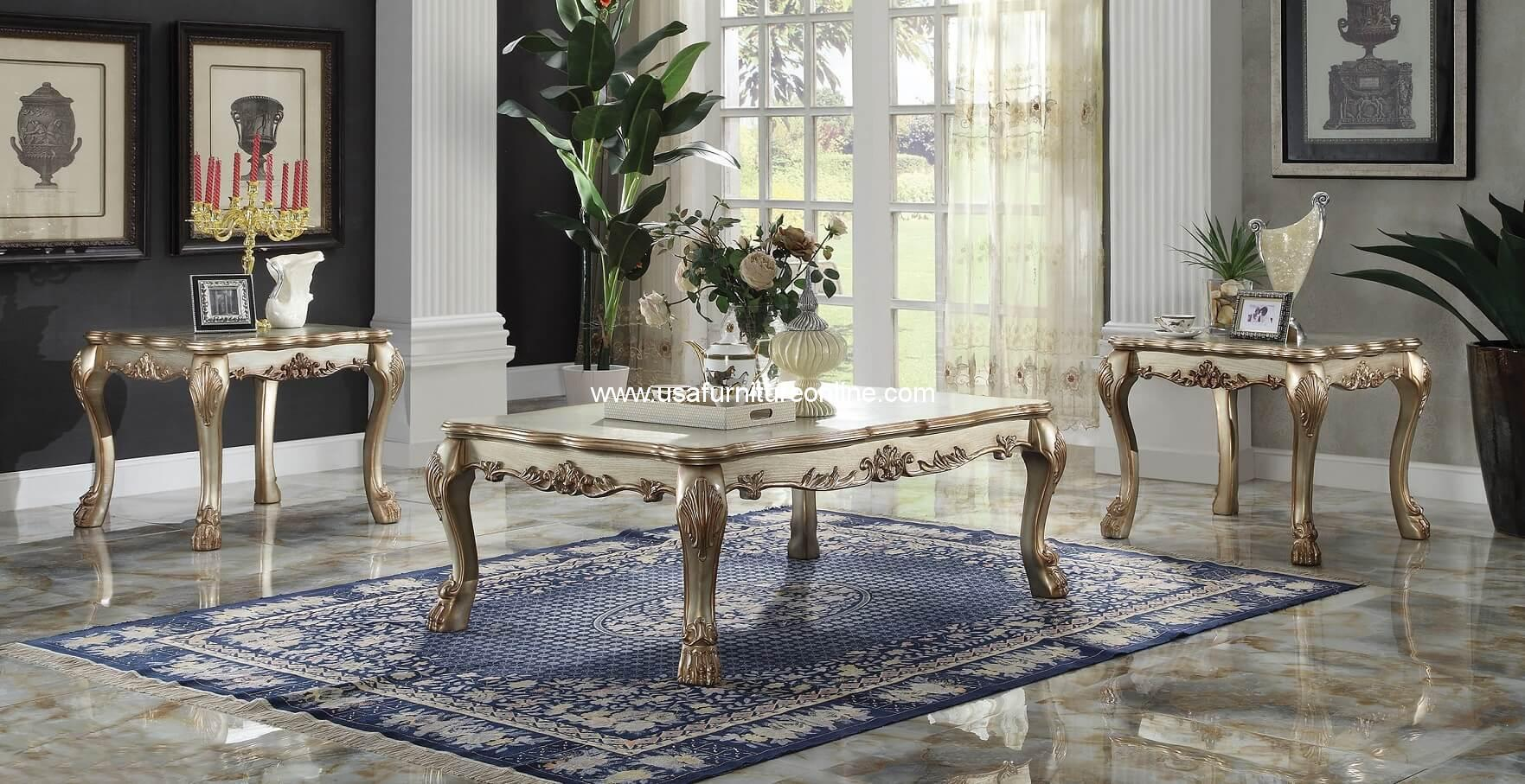 Acme Piece Dresden Coffee Table Set Gold Patina Finish USA - 3 piece oval coffee table set