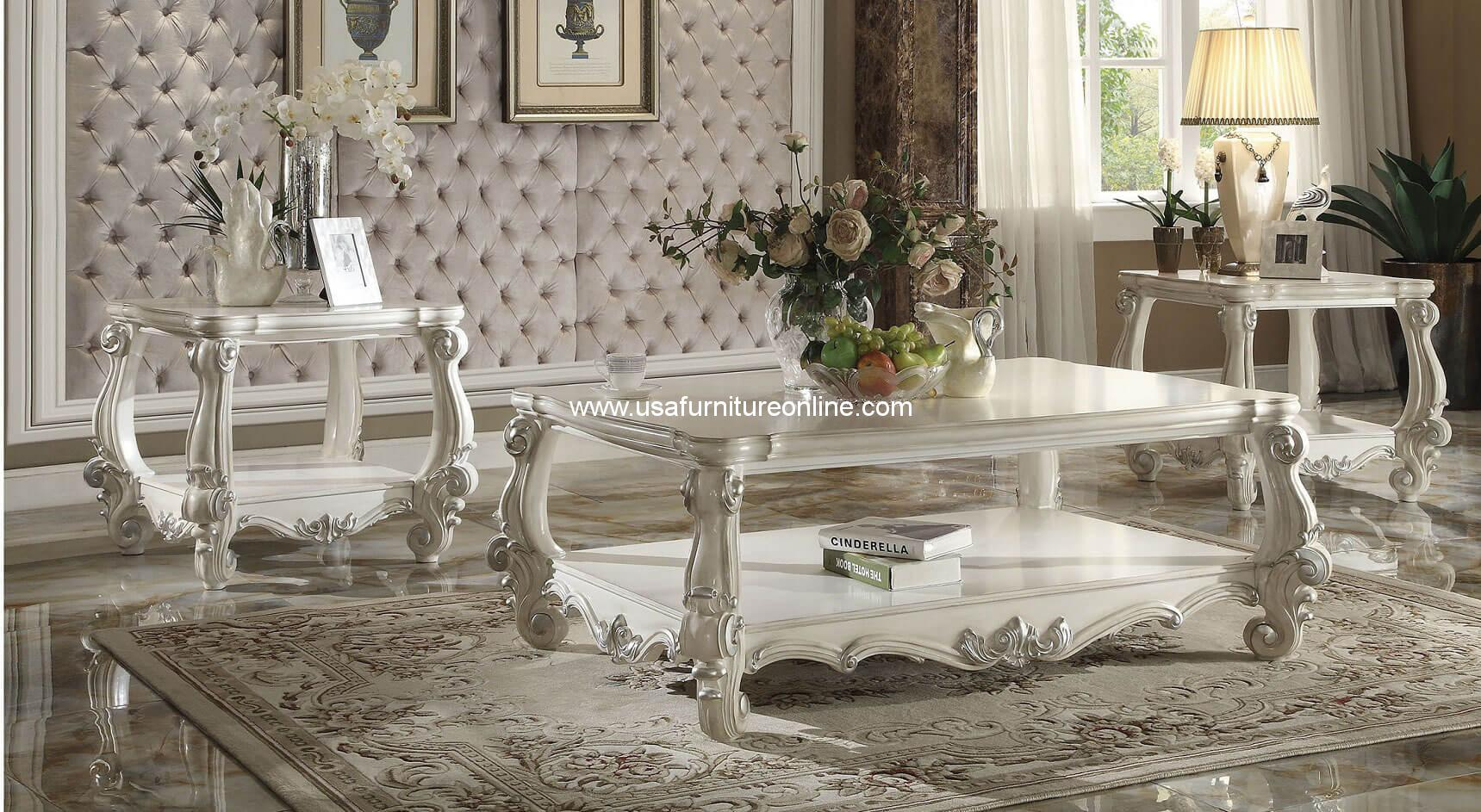 Game Table And Chairs Set Acme 3 Piece Versailles Coffee Table Set In Bone White ...