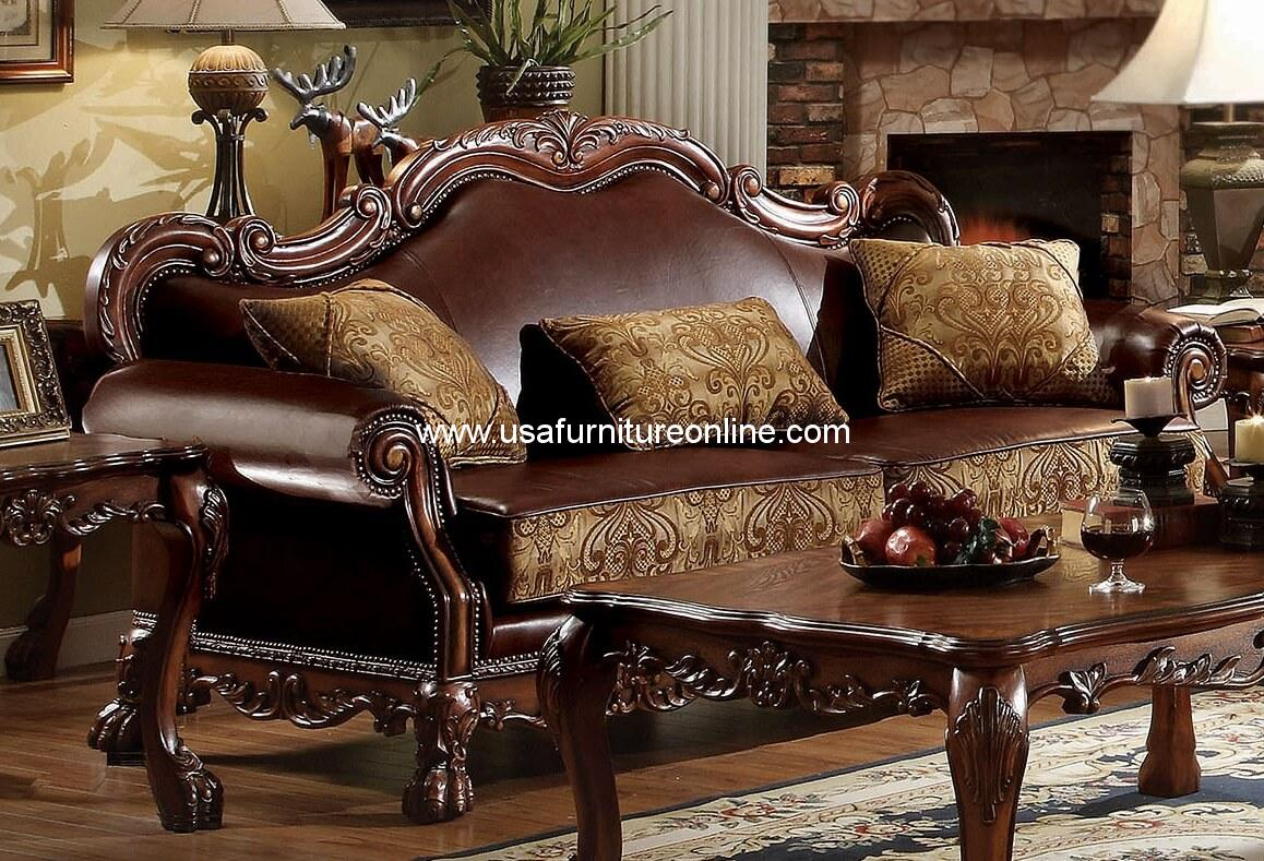 Acme Dresden Wood Trim Cherry Oak Sofa Usa Furniture Online