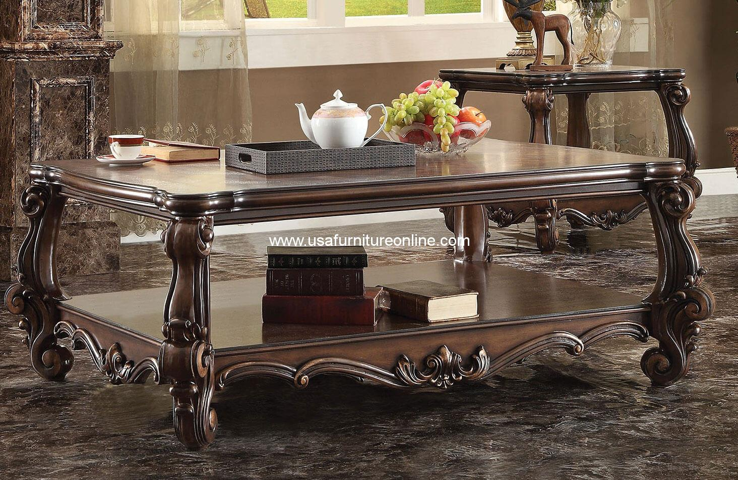 Acme Versailles Coffee Table In Cherry Oak Finish Usa