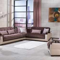Dogal Sleeper Sectional Brown