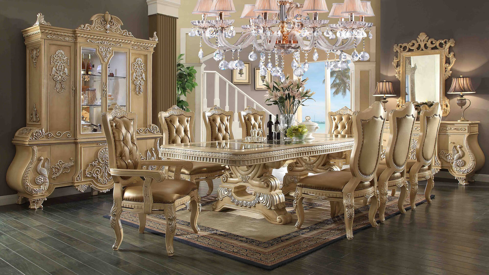 Victorian palace homey design hd 7266 dining set usa for Furniture palace