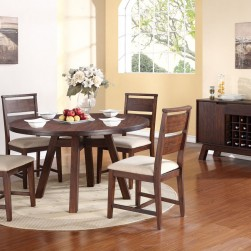 5 Piece Portland Solid Wood Round Dining Set