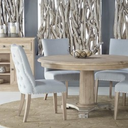 5 Piece Belmont Stone Wash Round Dining Set With Lourdes Chair