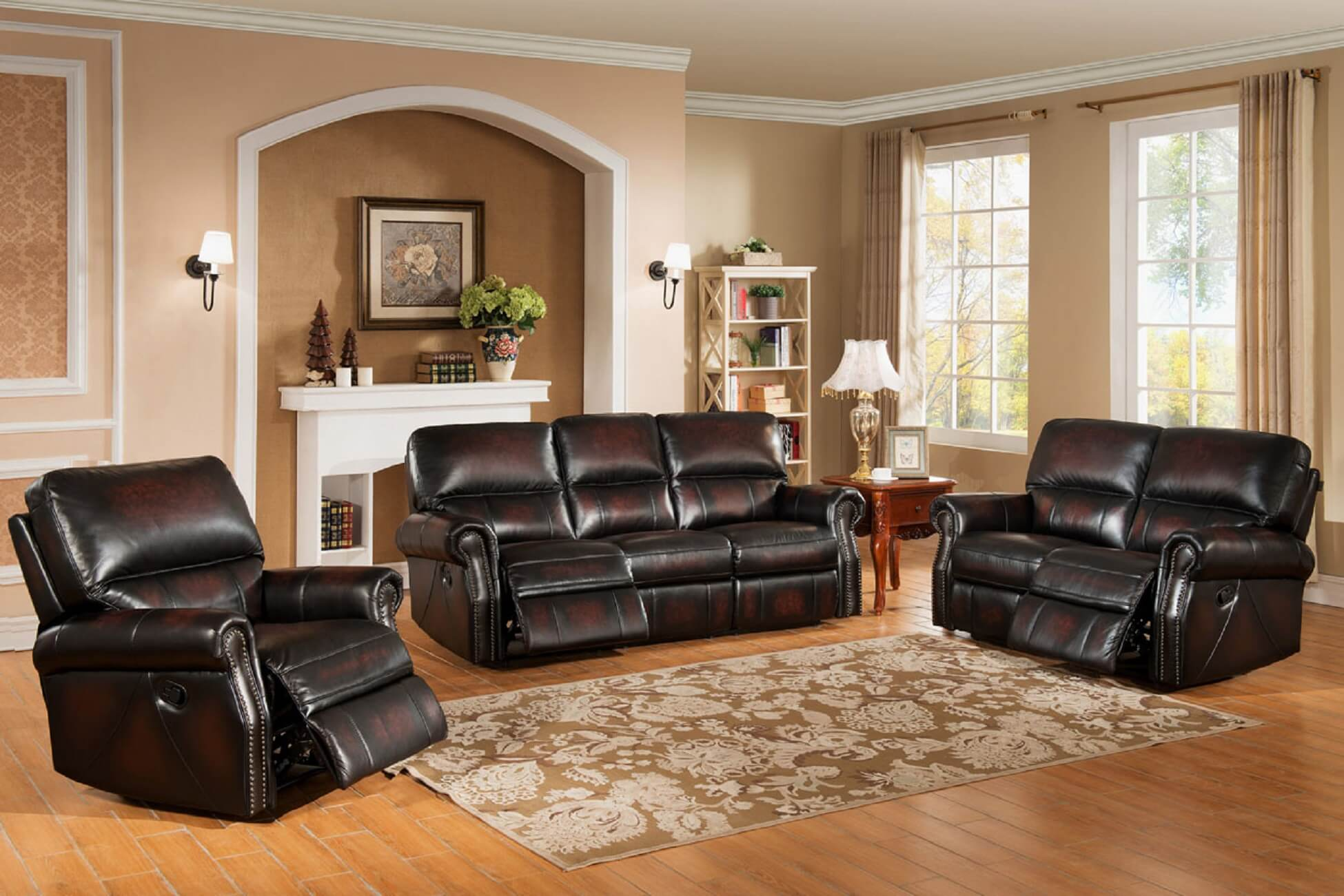 Brooklyn Two Tone Top Grain Leather Reclining Sofa