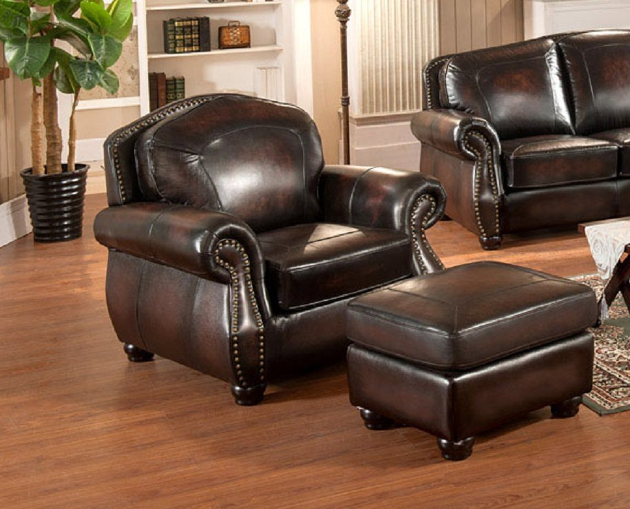 Hyde 100 Full Leather Chair W Ottoman Brass Nailhead Trim