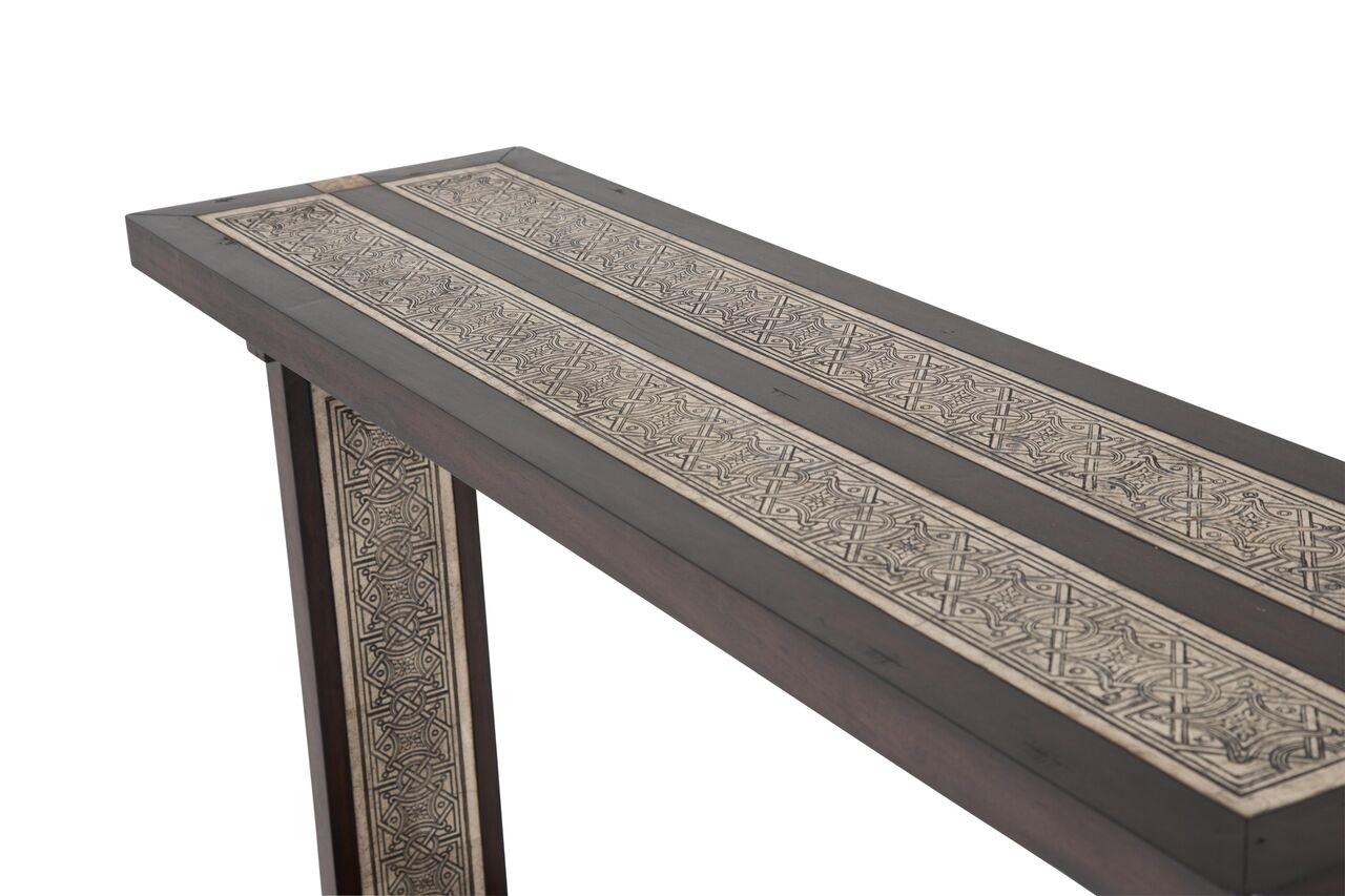 La paz console table stone etched inlay aico fs lapaz223 - La table console ...
