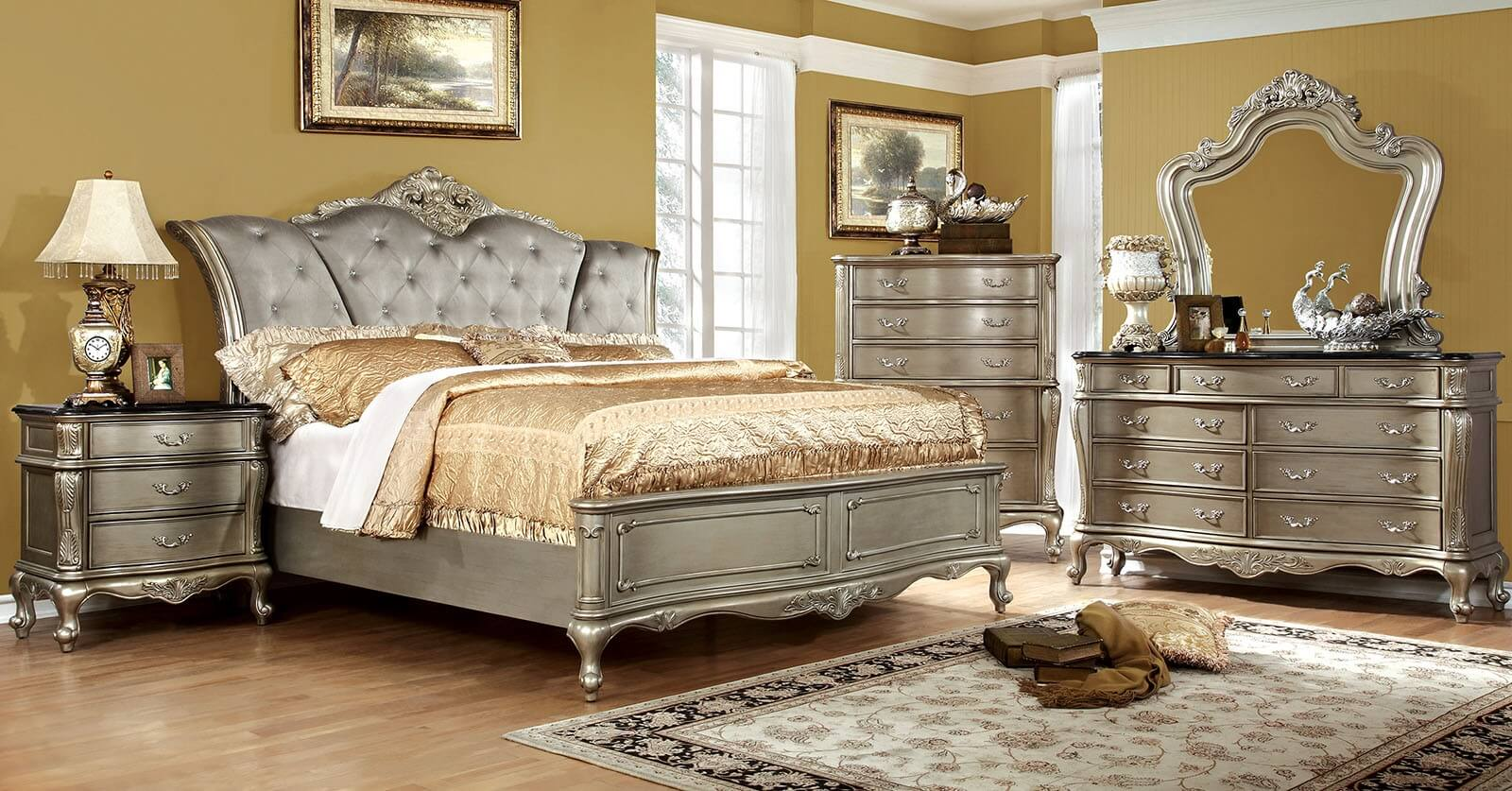 Ohara bedroom set by furniture of america for Four bedroom