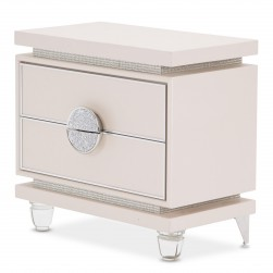 Glimmering Heights Upholstered 2 Drawer Nightstand Ivory By AICO-9011040-111