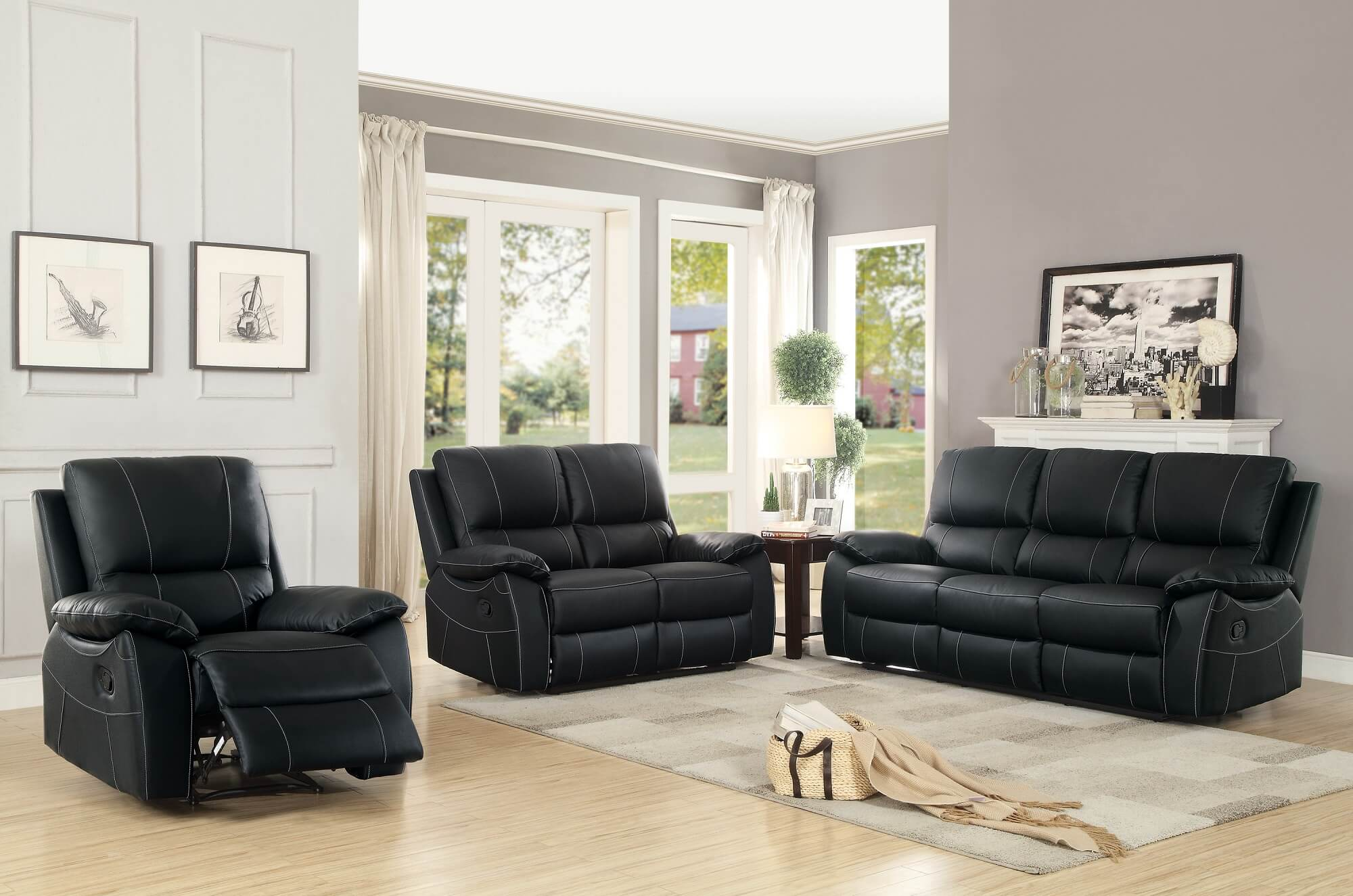 Greeley Top Grain Black Leather Reclining Sofa Set By Homelegance