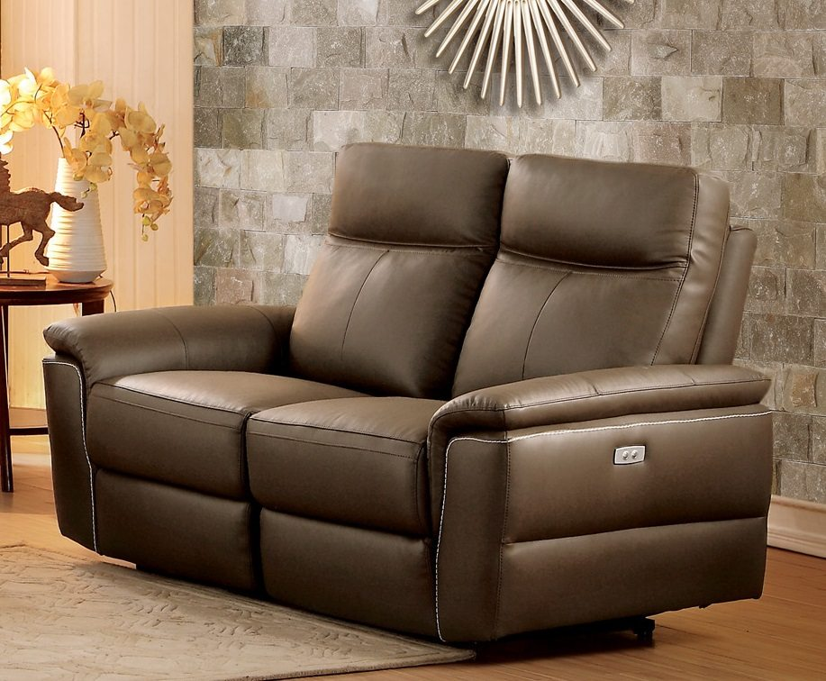 olympia top grain raisin leather power double reclining loveseat