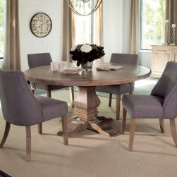 5 Piece Florence Round Dining Set Upholstered Grey Chair