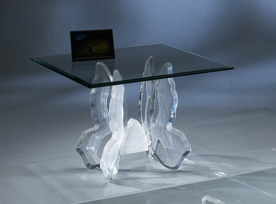 Clear Acrylic Butterfly II End Table With Glass Top • USA ...