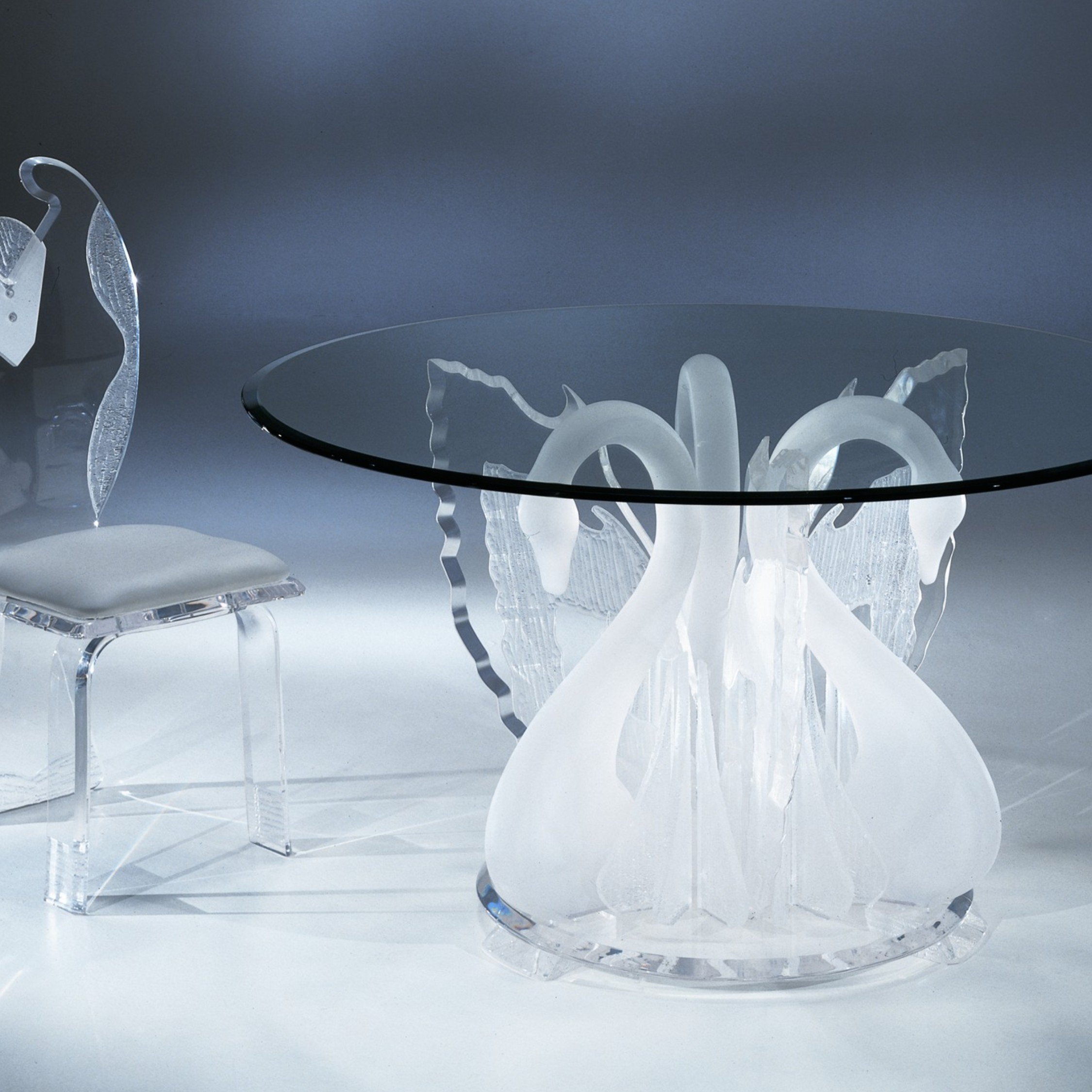 Clear Acrylic Legend Swan Round Dinette Table With Glass  : Clear Acrylic Legend Swan Round Dinette Table With Glass Top from www.usafurnitureonline.com size 2250 x 2250 jpeg 580kB