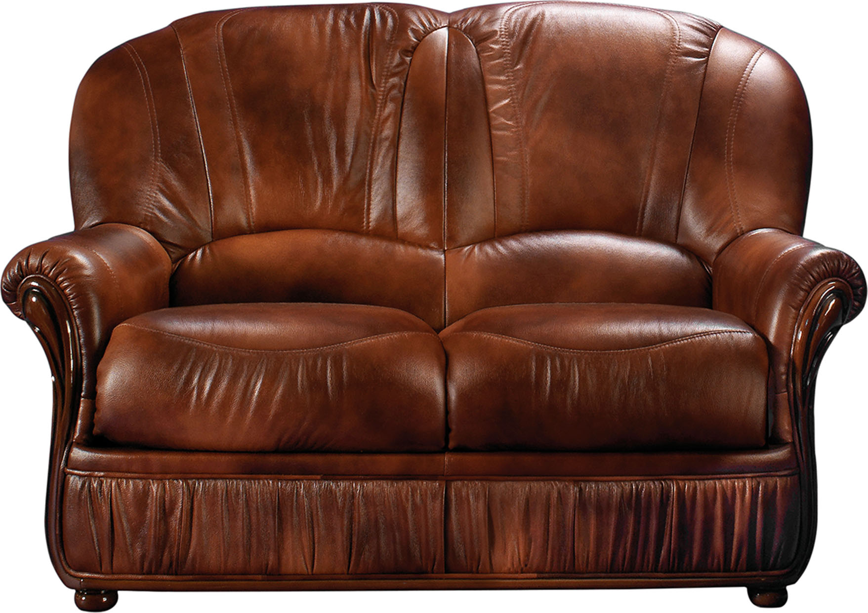 Esf Monica Full Italian Leather Loveseat Made In Italy