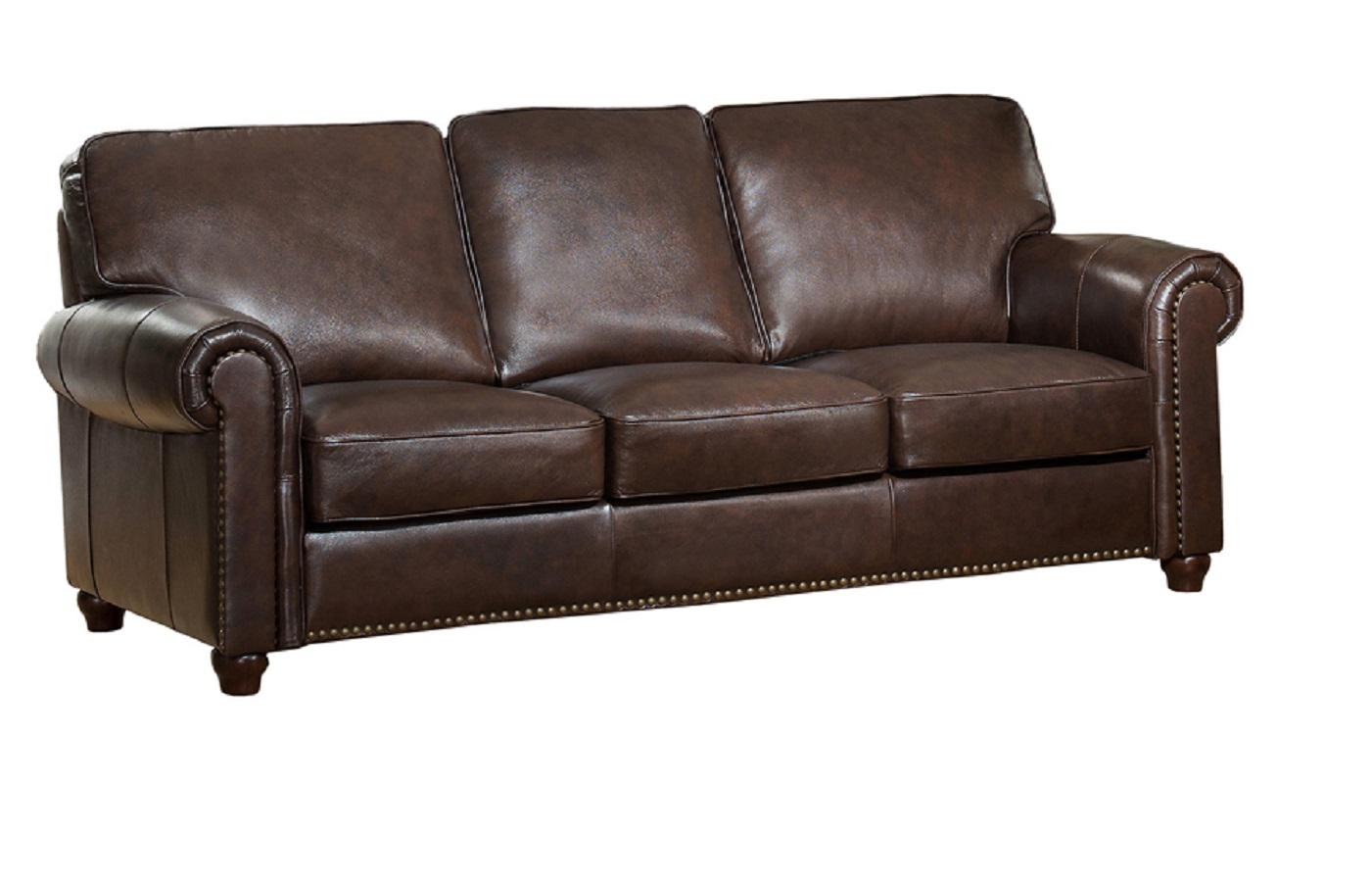 Jane Furniture Barbara Top Grain Dark Brown Leather Sofa
