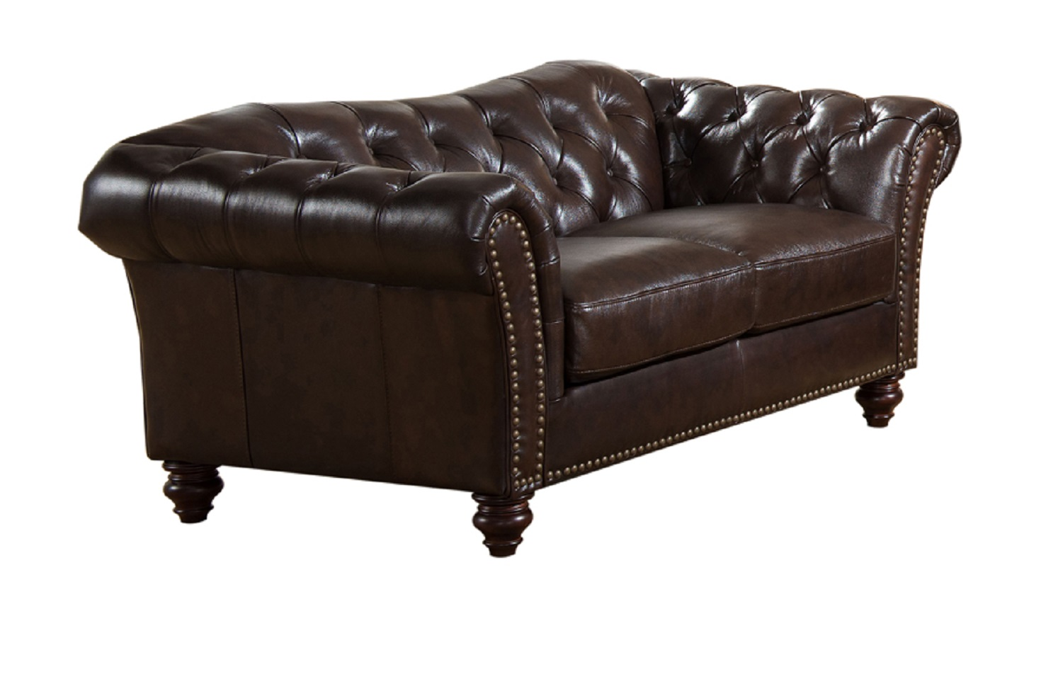Jane Furniture Mona Top Grain Dark Brown Leather Loveseat Usa Furniture Online