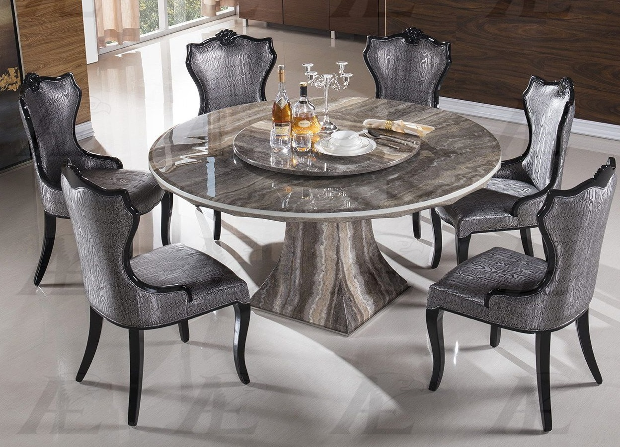 7 piece emma round multi tone marble dining set usa for 7 piece dining set