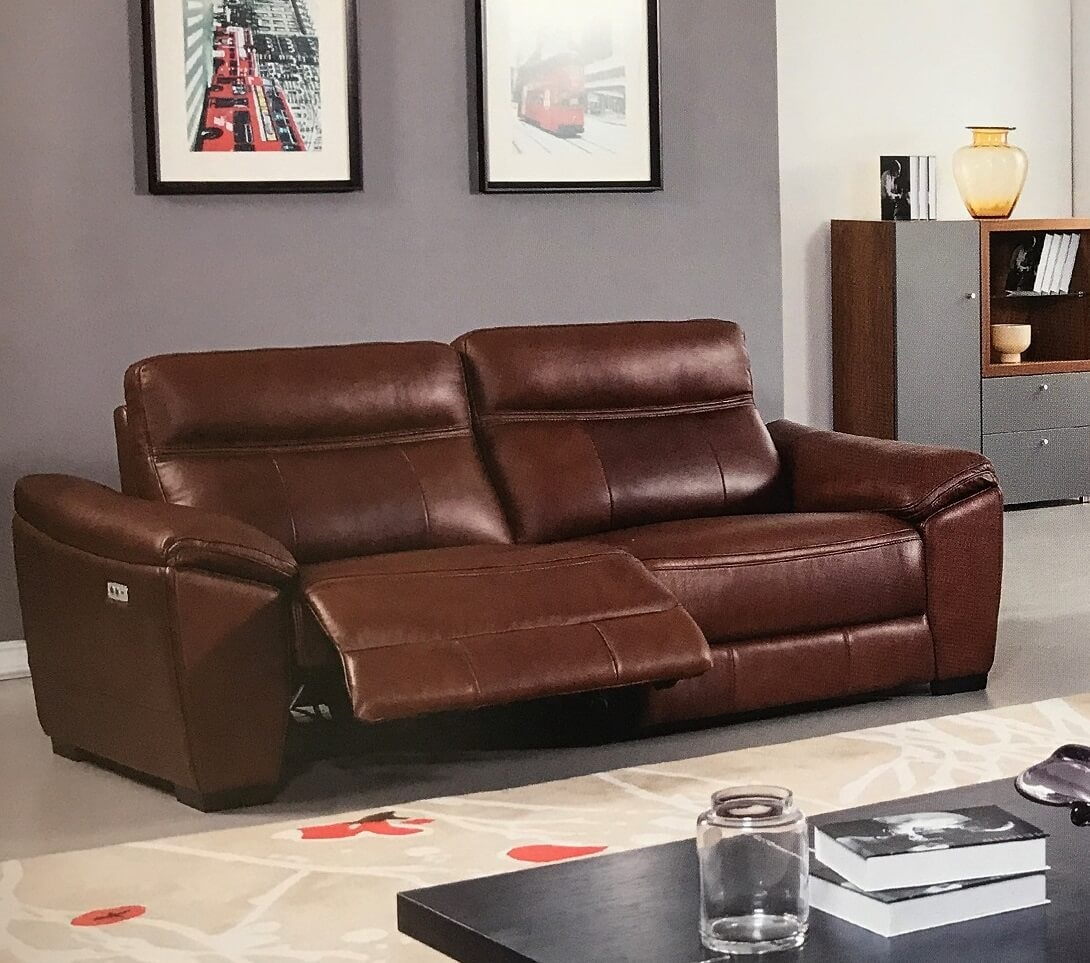 Online Sofas: Forma Brown Full Italian Leather Power Reclining Sofa