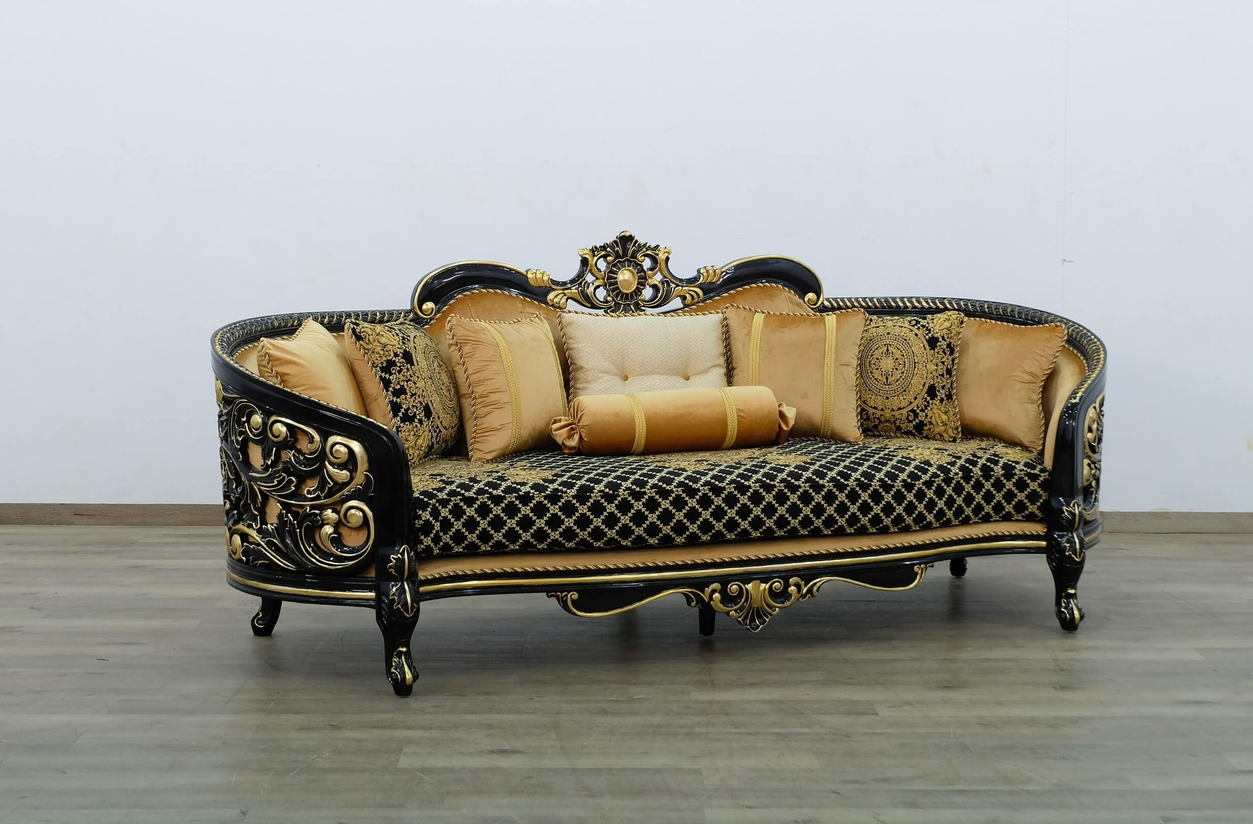 European Furniture Bellagio Iii Wood Trim Gold Black Sofa